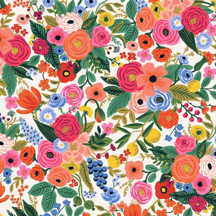 """Imagen del producto: Tela Rifle Paper  """"wildwood garden party"""" rosa, algodón  - media yarda"""