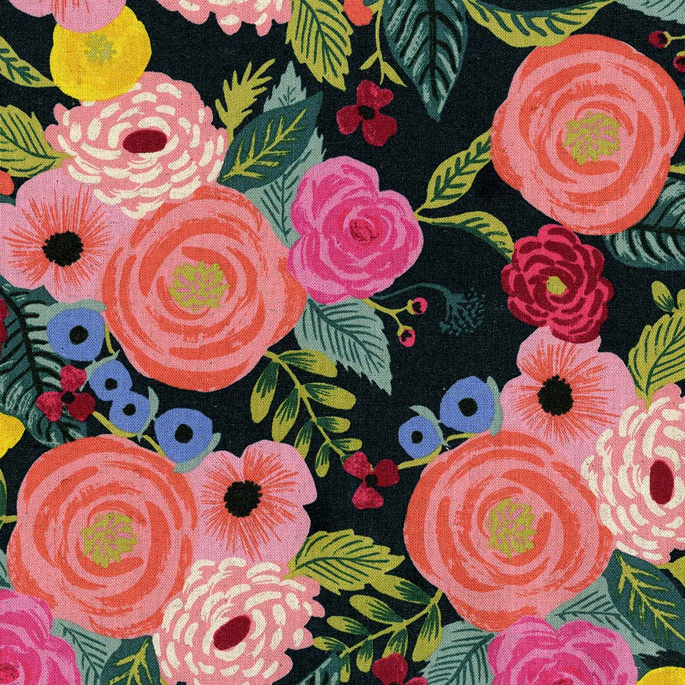 """Imagen del producto: Tela Rifle Paper """"english garden Juliet rose"""" azul marino, loneta - media yarda"""