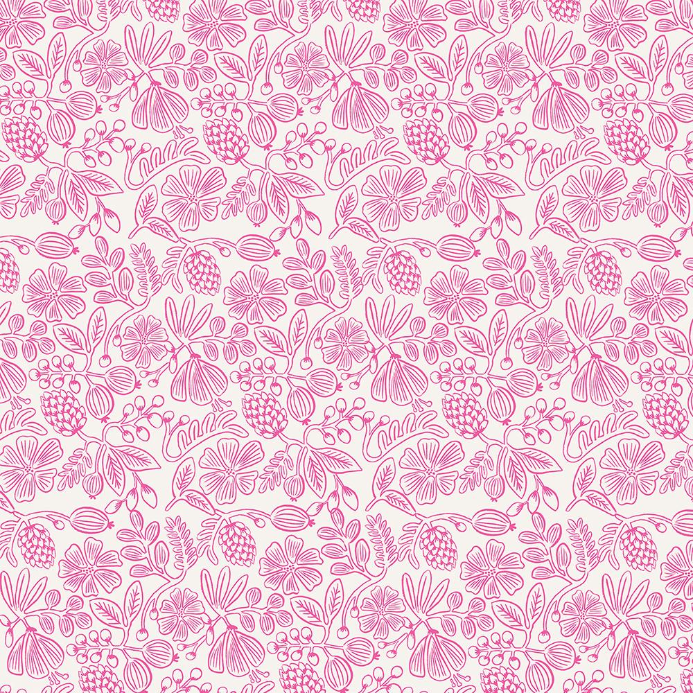 """Imagen del producto: Tela Rifle Paper """"primavera moxie floral"""" rosa neón, algodón - media yarda"""