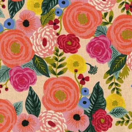 "Imagen del producto: Tela Rifle Paper ""english garden Juliet rose"" crema, loneta - media yarda"
