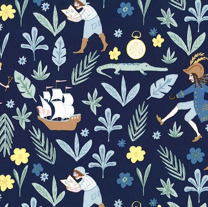 Imagen del producto: Tela Michael Miller Peter Pan azul marino, algodón - 45 x 55 cm