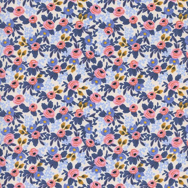 """Imagen del producto: Tela Rifle Paper  """"Les fleurs"""" azul claro, algodón  - medio metro"""