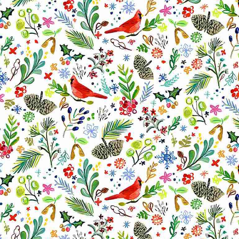 """Imagen del producto: Tela Dear Stella """"Love at frost side"""" pájaros, algodón - medio metro"""