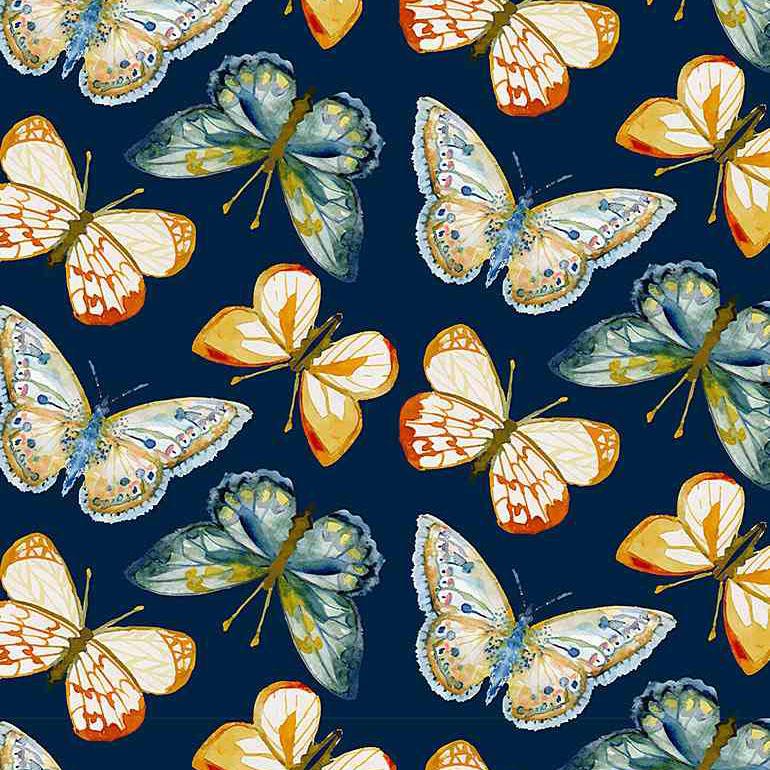 """Imagen del producto: Tela Dear Stella """"Meant to bee"""" mariposas, algodón - 50 x 55 cm"""