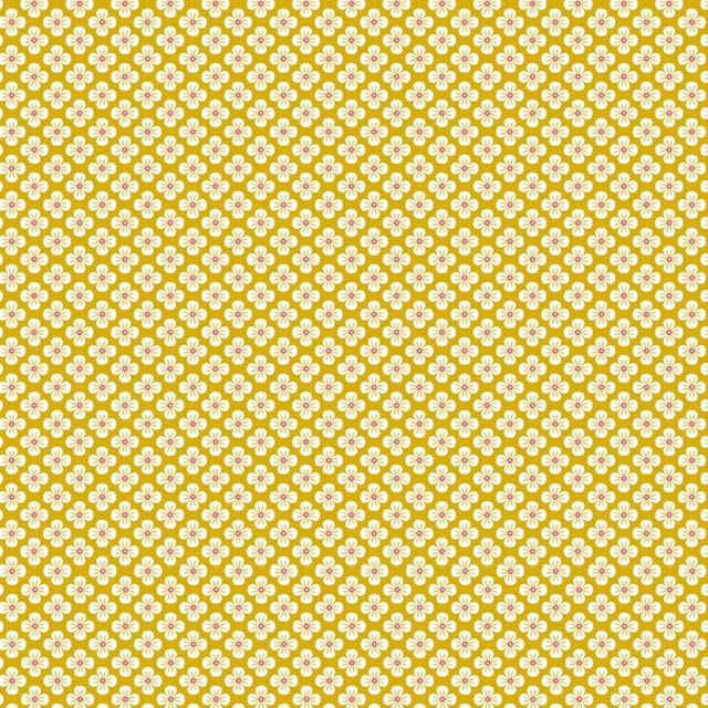 """Imagen del producto: Tela Poppy """"Flores japonesas amarillas"""", algodón - 50 x 75 cm"""